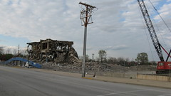 The demolition of the Sportsman's Park Horse Racing Track. Cicero Illinois. May 2009.