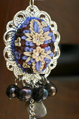 chocolate daisy pendant detail (Chili Crab) Tags: flowers blue brown leaves silver one beads chili crystal handmade ooak shell crab jewelry creme kind fimo lilac clay copper pearl sterling swarovski etsy elegant 2009 pendant freshwater filigree polymer swarovsky