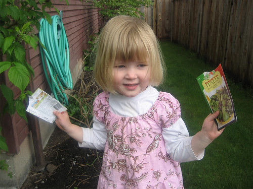 Hannah and her seed packets