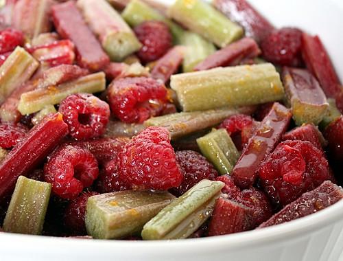 rhubarb, raspberry, raspberries