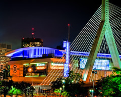 TD Banknorth Garden & Zakim Bridge at Night (briburt) Tags: longexposure nightphotography bridge blue sports colors boston architecture night evening lowlight nikon nightscape suspension stadium massachusetts newengland arena cables citylights charlestown transition bostonbruins bostongarden zakim zakimbridge bostonist sportsarena tdbanknorthgarden d90 bostonceltics leonardpzakimbunkerhillbridge lowlightphotography sportsstadium nikond90 northofnormal briburt ms2thdr nolanstern jimmike