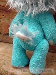 Turquoise sleepy monster (alittlestranger.com) Tags: bear blue sleeping white ice monster fur little turquoise stripes horns stranger holly plush sleepy curly resin creature striped airbrushed stanway hollypop alittlestranger