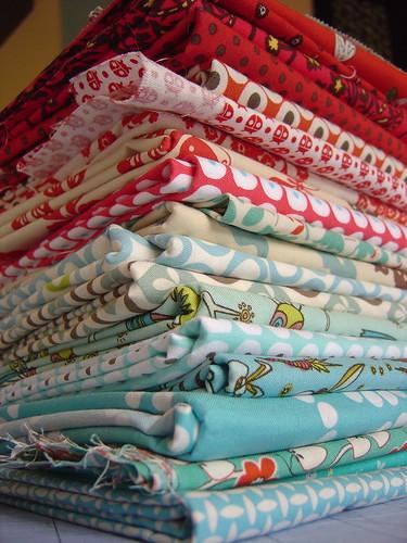 Red & Aqua Fabric