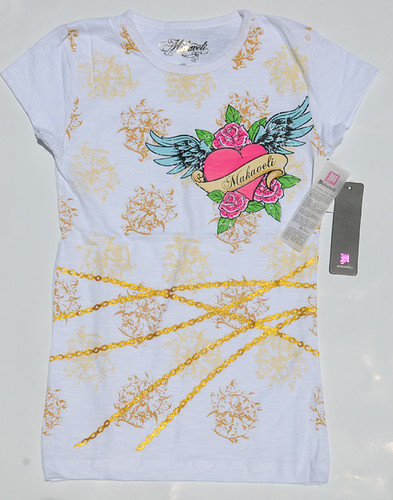 Women's Stud & Gold Leaf White T-Shirt By MAKAVELI Retail $44 For Sale $22
