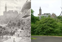 kelvingrove then and now (Dave S Campbell) Tags: park old west university circus glasgow exhibition end then now kelvingrove