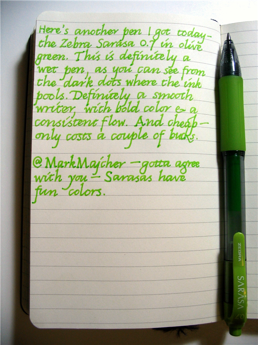 Here's another pen I got today—the Zebra Sarasa 0.7 in olive green.