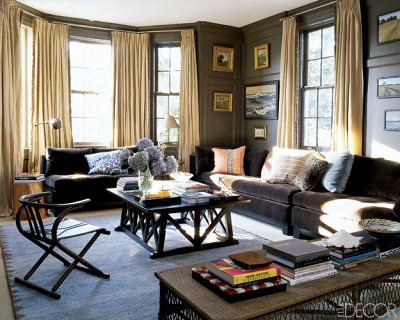 Sophisticated brown living room: Benjamin Moore 'Char Brown' + warm neutrals, from Elle Decor