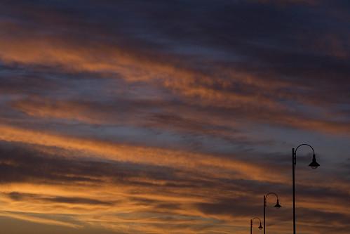 Street Lamps Against Sunset