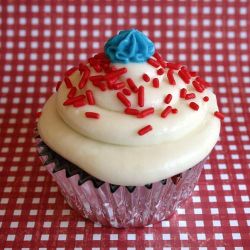 4th of July Red Velvet Cupcake