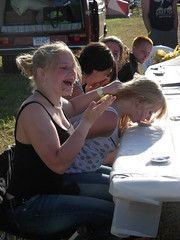 older kids at pie-eating contest (GardenerGal) Tags: party bluegrass foxhole pickin