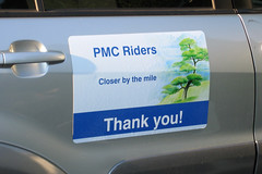One of Sheeri's new magnetic signs on her car thanking PMC riders.