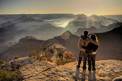 Togetherness at a Special Place in HDR (eoscatchlight) Tags: arizona inspiration love sunrise togetherness couple mood friendship grandcanyon az canyon romance inspiring companionship canonef28mmf18usm