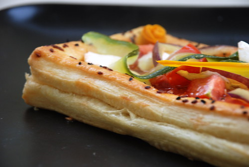 vegetable tart in puff pastry