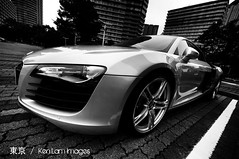 Audi R8 Quattro  V10 in Tokyo .... (Ken.Lam) Tags: white black sports car japan tokyo automobile angle wide dream sigma german   audi 1224mm v10 quattro r8 toyosu