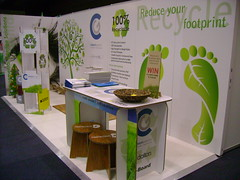 Booth for retail expo made from green board