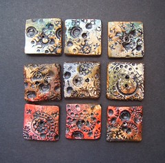 Armor- buttons / tiles / beads (gabriel studios) Tags: blue red green texture set beads handmade painted jewelry clay button bead trio etsy supplies artisan polymer earthtone gabrielstudios