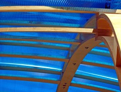 (JudyGr) Tags: wood blue roof lines geometry curves structure plastic abstructure fav temporary beams