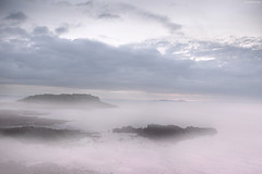 Evening Fog (Ben Heine) Tags: ocean life longexposure sea mer seascape blur france reflection beauty fog mystery clouds composition landscape island freedom scary rocks view nikond70 couleurs horizon north dream vivid bretagne digitalpainting libert depart unknown rays alive nuages fortress normandy depth brouillard flou saintmalo rochers forteresse jete merdunord waterscape le kleuren mattepainting rve profondeur mystre effrayant benheine fullcolours secretsea hubertlebizay hubzay flickrunited