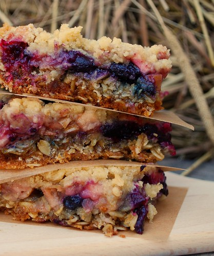 Apple Blueberry Crumb Bars Stacked