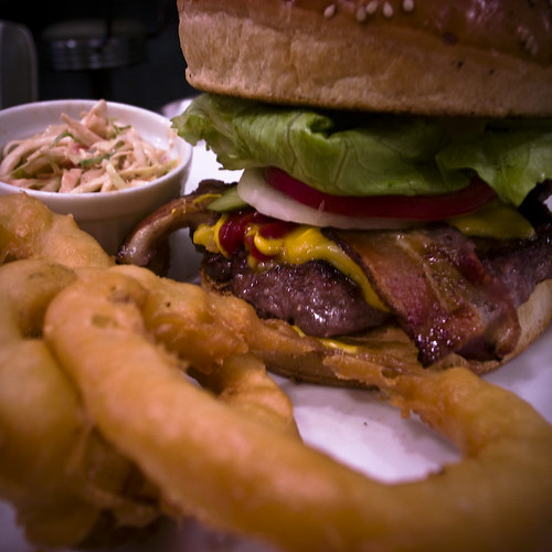Bakers Bounce Hamburger with Onion Rings