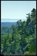 Hawk Ridge and Manitoulin's Shadow (Kurokami) Tags: life park camping trees shadow wild summer camp ontario canada tree island bay bush hiking hawk wildlife july canadian hike ridge killarney georgian manitoulin wilderness 2009 whack provincial whacking bushwhack bushwhacking