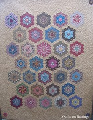 Grandmother's Flower Garden Quilt (QOB) Tags: quilt quilting quilted patchwork longarm handpieced grandmothersflowergarden machinequilted longarmmachine quiltsonbastings