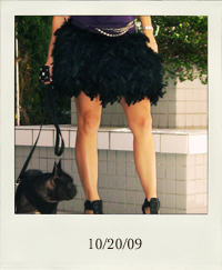 10-20, feather skirt, DIY feather skirt, black feathers, feathers mini skirt, Velvet Angels platform wedge bootie with t-strap, Erin Leigh Heart purple backless top, vintage chain belts, black French Bulldog, long chain drop earrings