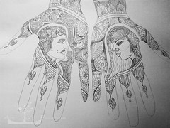 henna drawing (Art Fountain) Tags: drawing deisgn indianart hennahands girlandguy brideanggroom