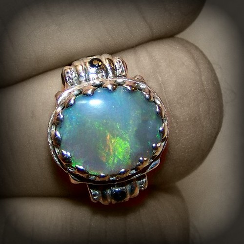 Nonius's ring of prophecy black opal in Sterling silver