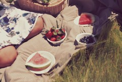(Maureen Dai) Tags: summer sun love field grass hat fashion fruit umbrella glasses strawberry picnic basket dress young khaki bowl watermelon blueberry sandwhich