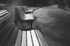 Three Benches (jamalrob) Tags: bw film gardens 35mm edinburgh delta botanic 100 benches ilford praktica
