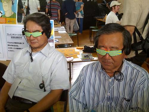 Yukawa-San and Omino-San trying out brain machine