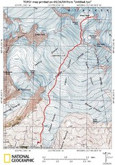 Approximate climbing route on the Easton Glacier