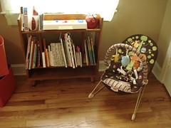 bookshelf & bouncer (stupid clever) Tags: nursery vintagefisherprice harpersroom modernbookshelf happyapplechime