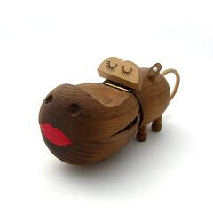 Zooline girl hippo (Wooden donkey) Tags: wooden danish teak bojesen