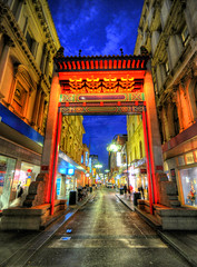 Melbourne Chinatown (5ERG10) Tags: street blue moon sergio architecture lights evening nikon chinatown arch dusk perspective may australia melbourne victoria hour handheld 2009 architettura hdr oceania d300 sigma1020 amiti 5erg10 sergioamiti