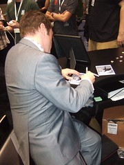 Mark Sheppard signing some giveaways - look for these soon!
