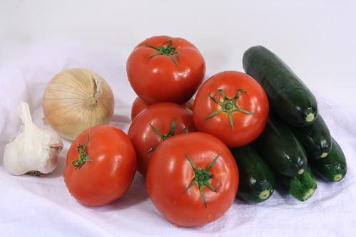 Garlic zukes tomatoes onions
