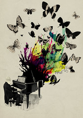 Butterfly effect (mathiole) Tags: old music man butterfly watercolor piano foundation splash effect imaginary