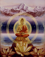 Cosmic love (Herman Smorenburg Art of Imagination) Tags: india mountains lotus buddha avatar buddhism vision sacred meditation spirituality himalaya cosmos newage visionaryart cosmicconciousness spiritualart