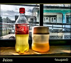 BottledJuice (islandfella) Tags: west 20d window canon eos sill juice coke plastic grenada caribbean cocacola backlit grenadines 1022mm hillsborough indies carriacou pseudohdr bottics