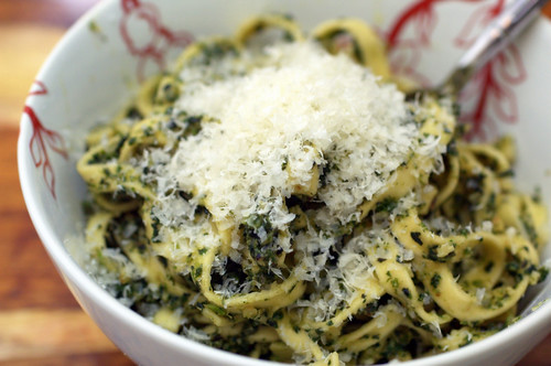 pasta with ramps and stinging nettles pesto