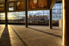 sunset at the acropolis and its museum: 178/365 (helen sotiriadis) Tags: sunset shadow sky building glass museum architecture canon athens parthenon greece 365 acropolis hdr canonefs1022mmf3545usm photomatix   theacropolismuseum canoneos40d  toomanytribbles updatecollection