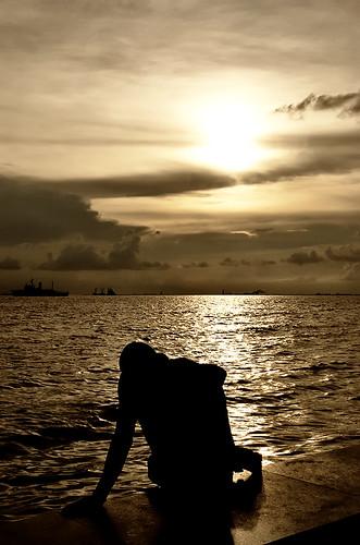 Figure in sunset
