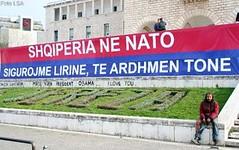 """Shqipria n NATO. Universiteti i Tirans. Parulla. Slogans. """"L'Albanie dans l'OTAN. Nous assurons ainsi notre libert et notre avenir"""". Universit de Tirana, Albanie. (Only Tradition) Tags: usa al propaganda albania slogan nato slogans propagande otan albanien shqiperi shqiperia albanija albanie shqip shqipri shqipria shqipe arnavutluk albani shba parulla   gjuha       propagand forcatushtaraketnatos parull      albnija"""