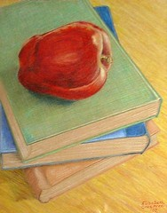 Apple and Books Colored Pencil Drawing (Elizabethc) Tags: blue red stilllife orange green art apple yellow artist drawing michigan books coloredpencil battlecreek elizabethcrabtree crabtreeoriginals