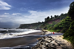 Varkala Monsoon ! (Anoop Negi) Tags: world red portrait cliff india storm black color colour beach water photography for photo sand media place image photos flag delhi indian side bangalore creative culture stormy kerala varkala images best monsoon po tradition mumbai anoop journalism monsoons raging negi churning photosof ezee123 bej bestphotographer imagesof anoopnegi doneji wouldhavebeenbetterifuhadgivenlinktoviewinlarge jjournalism
