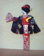 Hand-made Japanese paper doll with jacket2 - traded with Janet (tengds) Tags: fan jacket purse kimono obi redorange japanesepaper washi ningyo handmadedoll chiyogami partydress yuzenwashi japanesepaperdoll japaneselady origamidoll shikishidoll tengds