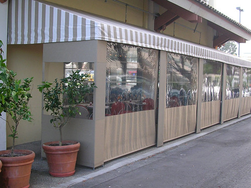 Pomodoro - Patio  Canvas Awning  &  Retractable  Wind screens (hand crank-motor operated)