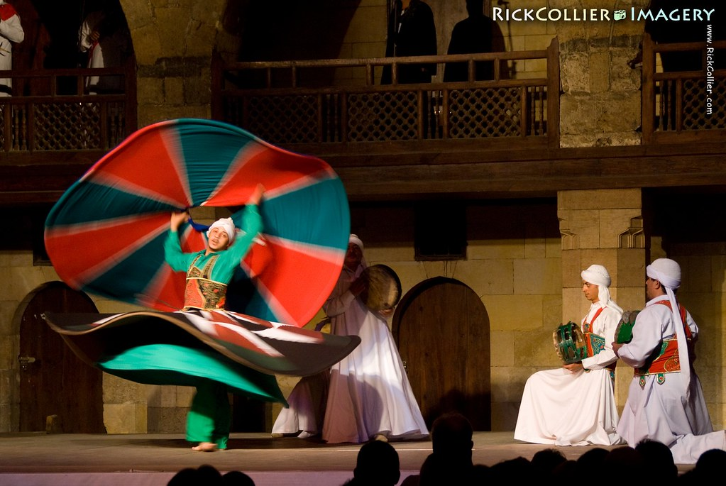 Touring Egypt:  The Dervish Sufi sect performs their whirling dance for tourists several evenings each week at the Wikala al-Ghouri (the Ghoruija) in Cairo, Egypt